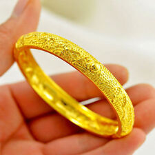 Dragon Phoenix Bangle Women's Carve 24k Real Yellow Gold Filled Bracelet Jewelry
