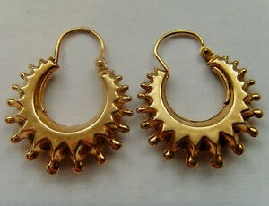 9ct Gold Victorian Style Spike & Ball Creole Earrings Hallmarked 28mm x 20mm