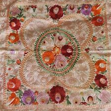 Antique Large Matyo Embroidered Handmade Tapestry Scarf White Red Pink Purple
