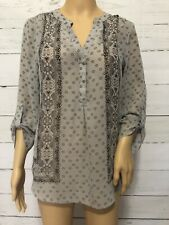 Maurices Gray Semi Sheer Blouse Top Womens Size Medium X22