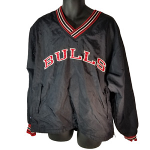 Vintage 90s Chicago Bulls Champion Pullover Jacket Mens Size M Black Red NBA