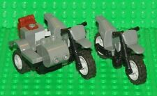 LEGO - Mini Figure - Motorcycle W/ Sidecar & Dirt Bike - Dark Bluish Gray