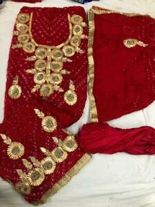 Art silk bandhani silk gota patti work suit