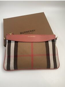 BURBERRY House Check Peyton Crossbody/Clutch/Bag Womens Pink authentic BNWOT