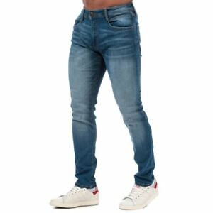 Men's Duck and Cover Maylead Zip Fly Stone Wash Slim Fit Jeans in Blue