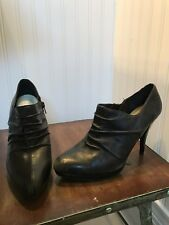 "NINE WEST Women's Ankle Bootie 4"" Heel Black Leather Stiletto SZ 8.5"
