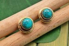 Oorbellen messing turquoise blauw groene steen