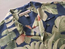 TOMMY BAHAMA SILK FLORAL HAWAIIAN CAMP SHIRT BLUE MEDIUM PRISTINE CONDITION