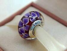 Beautiful Pandora Murano Glass Purple Flowers charm bead s925 Ale New