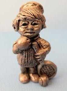 "Vintage Pewter Unsigned 1-3/4"" Ricker Figurine of Boy w/ Tennis Racket & Balls"