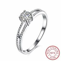 Genuine 925 Sterling Silver Solid Crystal Wedding Engagement Band Ring Jewelry