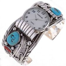 Mens Sterling Silver Watch Cuff With Tuquoise Coral Navajo Made