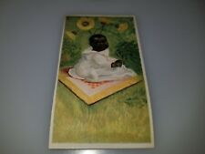 ANTIQUE VICTORIAN TRADE CARD BLACK AMERICANA  BABY SITTING ON BLANKET NO AD