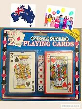 2 DECKS Playing Cards with Dice Travel Camping Leisure Game. SYDNEY. KIDS/ADULT