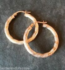 9ct Gold striped Tube Creole Earrings