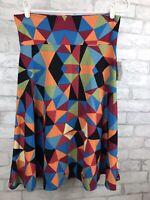 NWT LuLaRoe LLR Azure Skirt Red Blue Orange Geometric A-Line Size XL
