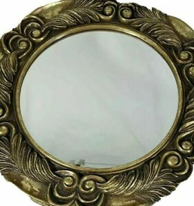 "Round wall mirror decorative living room decor gold leaf pattern 20"" diameter"