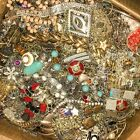 Huge Lot Jewelry Vintage Now Junk Craft Box FULL 5 + POUNDS Brooch Necklace MORE