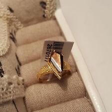 Natural zawadi GOLDEN Zaffiro Solitario Anello in oro 14k su argento Sterling S