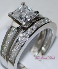 Bridal Wedding Set White Gold ov Princess cut Solitaire Diamond Engagement Ring