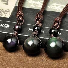 Men Women Retro Handmade Weaving Necklace Obsidian Stone Lucky Pendant Jewelry