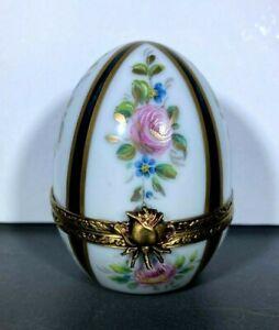VINTAGE  LIMOGES Trinket Box Egg  FRANCE  PORCELAIN ART