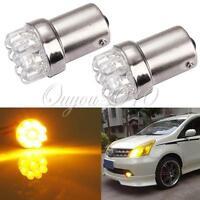 2x 1156 BA15S 9 LED Orange/Amber Car Tail Turn Signal Bulb Lamp Light 2W 12V DC