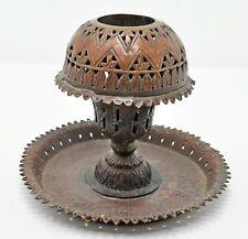 Original Old Antique Hand Crafted Fine Engraved Copper Incense Holder Plate