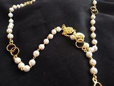 """High End New Wedding Rosary White Glass Beads 20"""" Gold Plated Locked Links"""