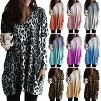 Women's Casual Loose Long Sleeve Tops Pullover Blouse T-shirt Pockets Plus Size