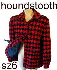 PENDLETON houndstooth red black checker 6 small blanket mod hunter plaid coat s