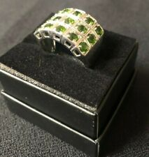 Ring Round Cut Top Rich Green Siberian Emerald Silver Ring Size 10 925 Silver