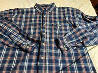 Dickies Men's Plaid Long Sleeve Shirt Mid Weight Cotton Blue Sz XLT Euc
