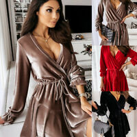 Women's Velvet Ruffled Long Sleeve Mini Dress Party Evening Cocktail Swing Dress