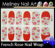 French Rose Full Cover Glitter Nail Wraps Nail Art Stickers Pattern flower