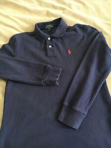 Boys POLO RALPH LAUREN Polo Shirt Long Sleeve Navy Cotton Size M(10-12) Age 8-9Y