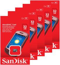 5 x SanDisk 32GB Micro SDHC SD Class 4 UHS-I TF Memory Card SDSDQM-032G Retail