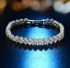 Bridal Ladies High Quality Zirconia Crystal Platinum Plated Bracelet Gift 17.5cm
