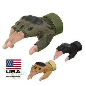 Outdoor Army Military Tactical Motorcycle Hunt Hard Knuckle Half Finger Gloves