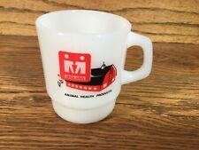 FARMING COFFEE CUP MIDLAND ANIMAL HEALTH PRODUCTS FIRE KING MILK GLASS USA