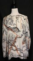 SPORTSCRAFT SIGNATURE  Silk White Black Taupe Botanical Floral Blouse Top 16 18