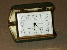 Vintage Bulova Folding Travel Alarm Clock Green w/ Gold Trim
