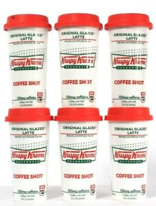 6 Ct Krispy Kreme Doughnuts 2 Oz Original Glazed Latte Coffee Shot BB 12/11/21