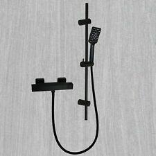 Black Thermostatic Bathroom Bath Shower Mixer Tap Square Slider Shower Rail Kit