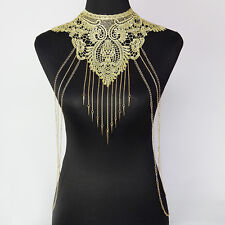 Lace Flower Collar Gold Body Chains Gothic Necklace Multi-layer chain Jewelry