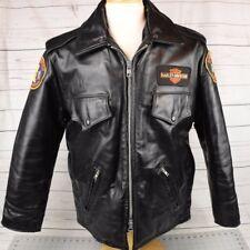 VTG Taylors Leatherwear Black Leather Police Jacket Harley Davidson Patches 42