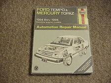 Haynes Manuals: Ford Tempo and Mercury Topaz 1984-1994 (Paperback) Free Shipping