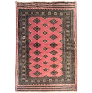 Trendy Pink 4x6 Hand Knotted Wool & Silk Jaldar Bokhara brown Rug B-75616