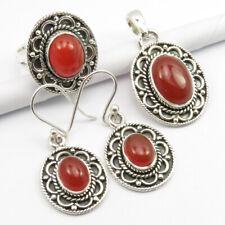 Quality Carnelian Earrings Pendant Ring #6 Handwork Jewelry Set ! 925 Silver Aaa