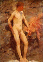 Art Oil painting Henry Scott Tuke - Nude strong young man after bathing by beach
